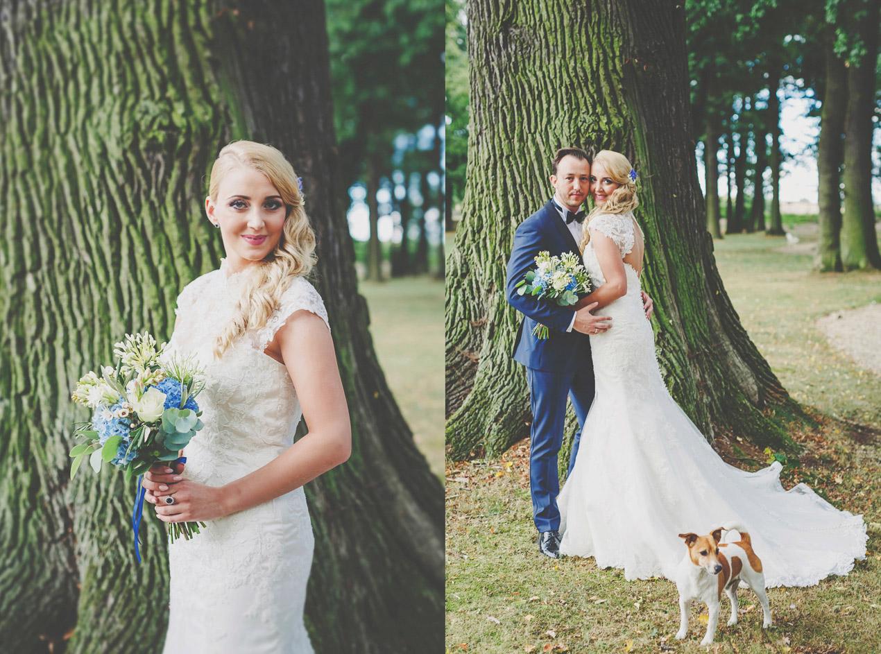 Pałac Brunów, sesja plenerowa, park, pies na weselu, pies na ślubie