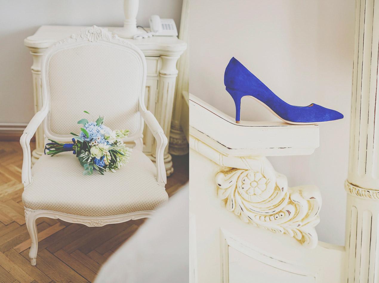 wesele w Pałacu Brunów, bukiet, przygotowania, buty, indygo, modrak, niebieski