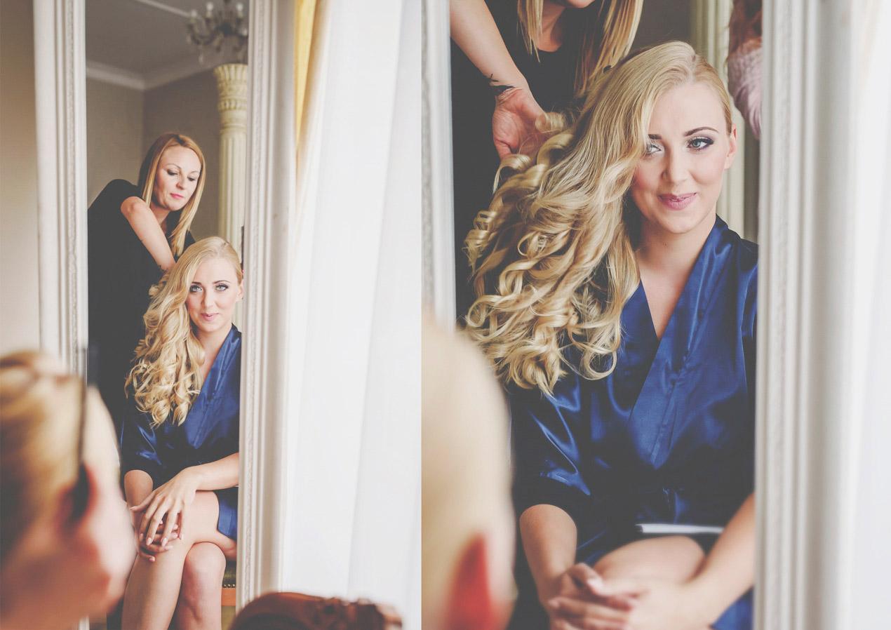 Pałac Brunów wesele, ślub, przygotowania, fryzjer, włosy, panna młoda