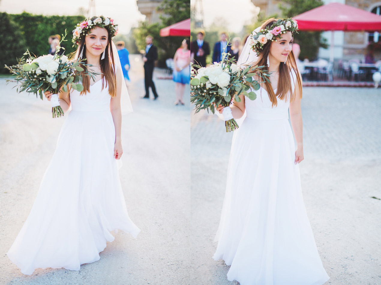 fotografia ślubna, Pałac Brunów, fotograf ślubny Jelenia Góra, zdjęcia ślubne, wesele w pałacu, panna młoda we wianku, wianek na głowie
